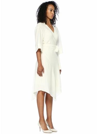Theory Anvelop Yaka Beli Kuşaklı Midi Krep Elbise Ekru